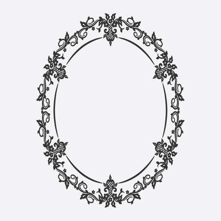 Oval vintage frame with floral ornament design.