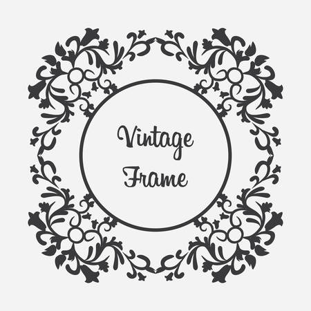 Vector black round vintage frame with floral ornament with format eps10