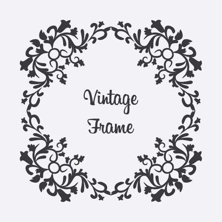 Vector rhombus vintage frame with floral ornament with format eps10