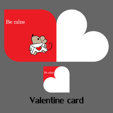 Vector valentine card with mouse