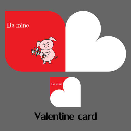 Vector valentine card with pig and heart illustration.
