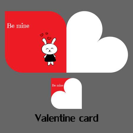 Vector valentine card with rabbit Ilustração