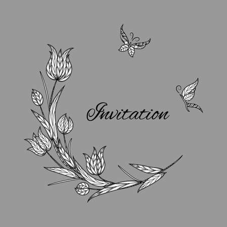 A Vector tulip invitation with butterfly