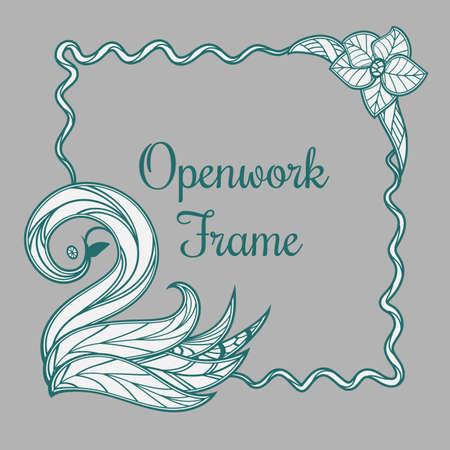 Vector openwork frame with swan Ilustração
