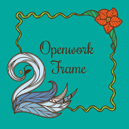 Colored frame with swan vector illustration. Imagens - 95967805