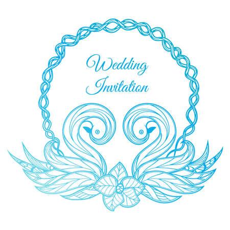 Blue wedding invitation vector illustration.