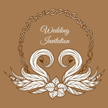 Vector brown wedding invitation. Imagens - 95857656