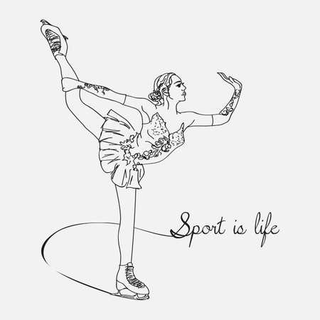 Vector sketch figure woman skater illustration.