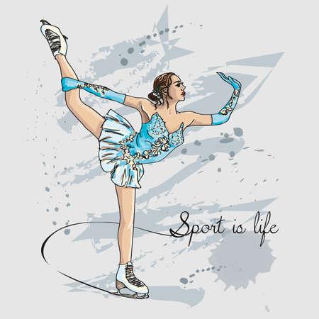 Vector sketch figure woman skater color illustration.