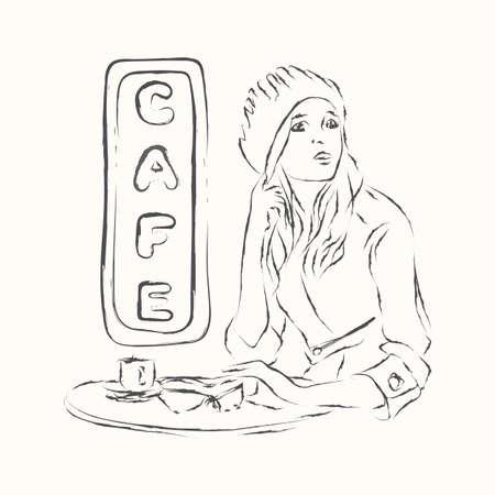Vector sketch cute girl in cafe illustration. Ilustração