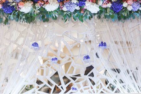 fragments: Fragments of the decorative mirror. The decoration on the wedding. Wedding decorations. Stock Photo