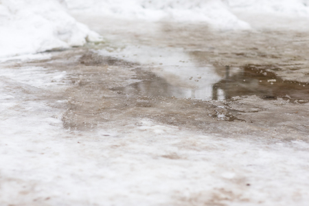 winter thaw: The thaw in the winter. A puddle in the middle of snow. Stock Photo