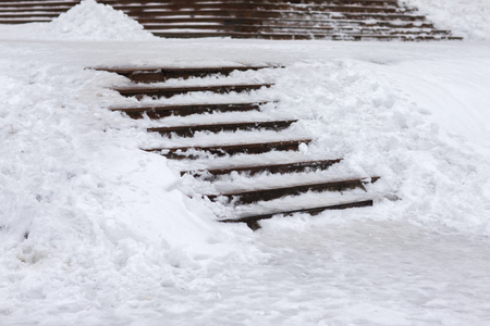 winter thaw: Slippery Stairs winter. Ice, snow, thaw, and a cataclysm.