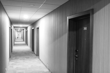 room door: The door to the room. Corridor in the hotel.