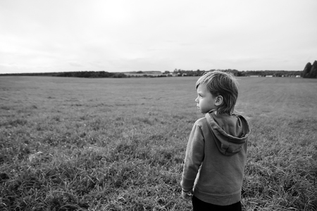 toddler walking: Handsome young boy looks at the field and dreams. Toddler walking in the summer and think. Wind develops hair.