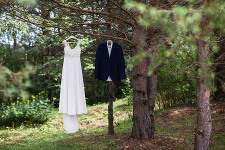 blinder: A grooms suit and a bride white dress on the wedding day.