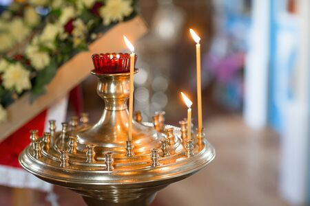 russian orthodox: The candles in Russian orthodox Church, indoor