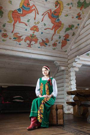 kokoshnik: Beautiful woman portrait in russian style. Beautiful Russian girl in traditional dress. Russian style.