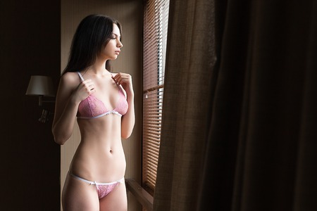 Beautiful young woman standing in lingerie in the apartment. Sexy girl posing.