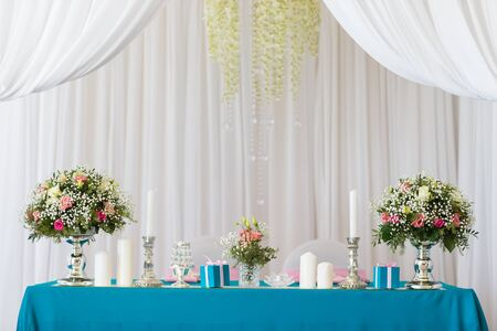 restaurant dining: Beautiful flowers on table in wedding day Stock Photo