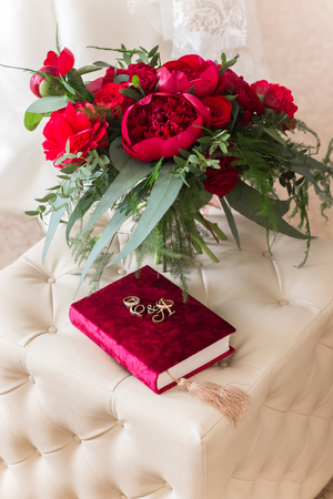 Wedding Rings With Roses On Red Beutiful Book Stock Photo Picture And Royalty Free Image 65891982
