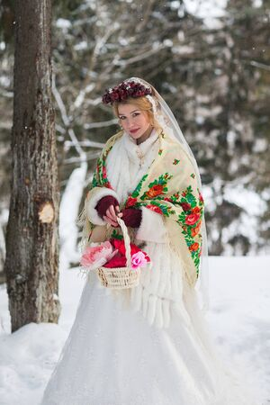 bride in red scarf Russian style