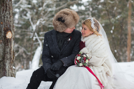 Stylish beautiful young couple bride and groom, dog sitting on the background of a winter landscape Stock Photo