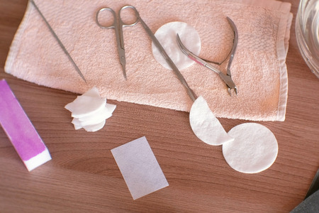 Manicure tools on the towel on table. Kho ảnh