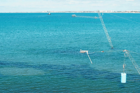 Equipped place for wakeboarding in the sea.