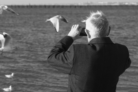 Elderly gray-haired man photographed on a mobile phone seascape with a pier and seagulls. Back view. Foto de archivo