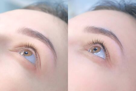 Collage of womans eye before and after lashes lifting and lamination, closeup view. Result of beauty procedure of eyelashes lift and laminating. Long and voluminous eyelashes. Archivio Fotografico