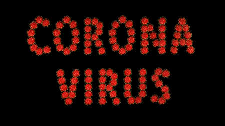3d image render, background with writing title inscription corona virus of red molecules of covid-19 virus on black background. Coronavirus concept. Idea of pandemic, epidemic. Digital text.
