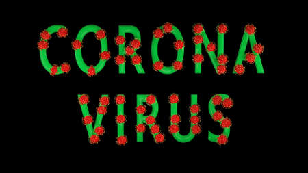 3d image, render. Green text corona virus with red molecules of covid-19 on black background. Coronavirus concept. Idea of pandemic, epidemic. Digital writing, title, inscription.