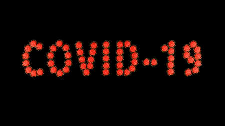 3d image render, background with writing title inscription covid-19 of red molecules of covid virus on black background. Coronavirus concept. Idea of pandemic, epidemic. Digital text.