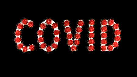 3d image, render. White text covid with red molecules of coronavirus on it on black background. Coronavirus concept. Idea of pandemic, epidemic. Digital writing, title, inscription.