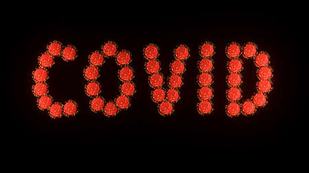 3d image render, background with writing title inscription covid of red molecules of covid-19 virus on black background. Coronavirus concept. Idea of pandemic, epidemic. Digital text.