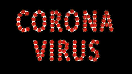 3d image, render. White text corona virus with red molecules of covid-19 on black background. Coronavirus concept. Idea of pandemic, epidemic. Digital writing, title, inscription.