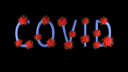 3d image, render. Blue text covid-19 with red molecules of covid on it on black background. Coronavirus concept. Idea of pandemic, epidemic. Digital writing, title, inscription. Stok Fotoğraf