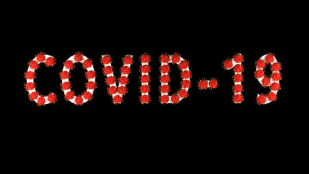 3d image, render. White text covid-19 with red molecules of coronavirus on it on black background. Coronavirus concept. Idea of pandemic, epidemic. Digital writing, title, inscription. Stok Fotoğraf