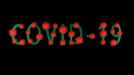 3d image, render. Green text covid-19 with red molecules of coronavirus on it on black background. Coronavirus concept. Idea of pandemic, epidemic. Digital writing, title, inscription. Stok Fotoğraf