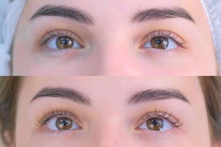 Womans lashes after and before beauty procedure of eyelash lifting and laminating in beauty clinic, eyes closeup. Young woman in cosmetology clinic with open eyes. Lift of lash and eyelash.