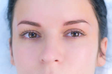 Eye of young woman after lash laminating and painting eyebrows procedures. Closeup portrait of girl brunette in beauty clinic. Beauty industry concept.