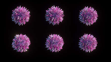 3D rendering of six pink balls with not sharp sticks on black background. Similar to molecules, viruses, bacteria. All sticks around balls are different length. 3D illustration of studded balls.