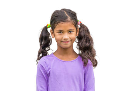ponytail: Little gypsy child girl with ponytail smiling isolated on white background Stock Photo