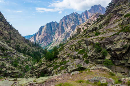 High mountains in France, Corsica walley landscape near GR20 trail