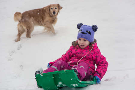 Little child girl sledging in snow with dog; outside in winter