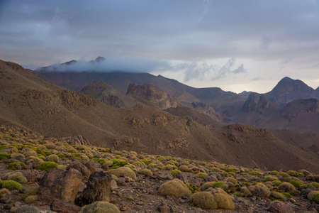 Mountain covered in clouds in Morocco Antiatlas mountains