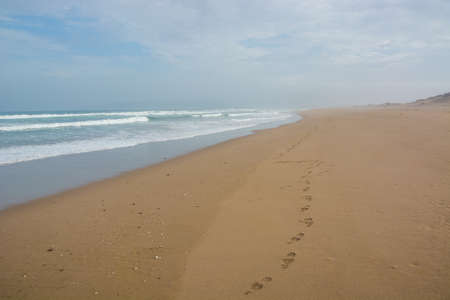 Footprints on seashore fading into the distance at horizont, Morocco