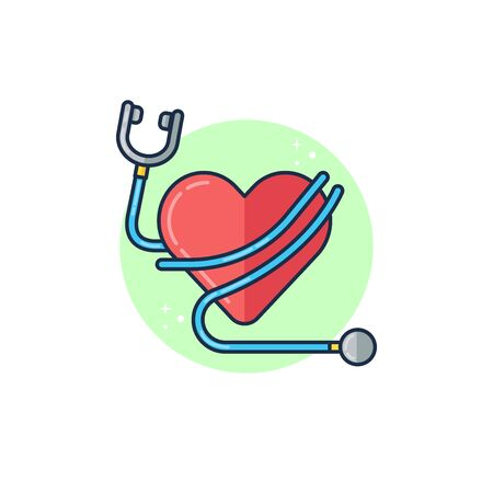Simple Vector Flat Illustration World Health Day with Stethoscope and Heart  Perfect for Web Banner, Brochure, Social Media Content, and etc. 向量圖像