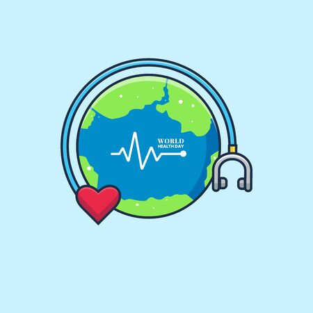 Simple Vector Flat Illustration World Health Day with Earth and Stethoscope  Perfect for Web Banner, Brochure, Social Media Content, and etc.